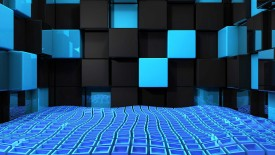 Free Black Blue Cube 3D Wallpaper