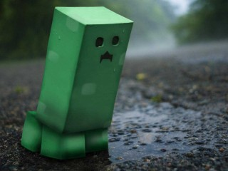 Green Minecraft Sad 3D Wallpaper Widescreen