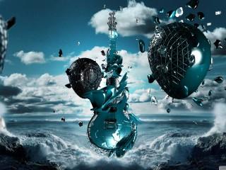 Guitar Alien Water 3D Wallpaper Widescreen