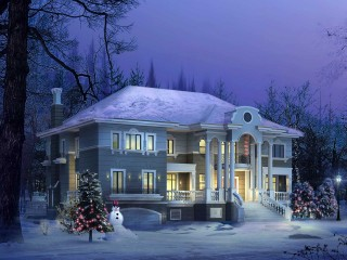 HD 3D Architecture House In Snow Fall