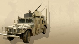 Humvy Car Brown Army Guns Jeep