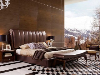 Italian Classical Design Leather Platform Bed  Widescreen Wallpapers