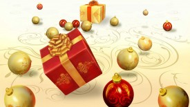 Red Gift Ball 3D Wallpaper Widescreen