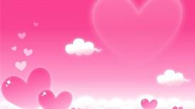 Valetine Cartoon Pink Hearts Clouds Love Desktop