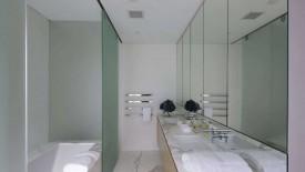 White Bathroom With Glass Separator Remodel Design Idea