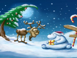 Cute Cartoon Christmas Wallpaper