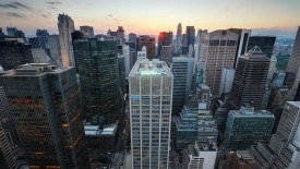 Sunset over Manhattan Widescreen Wallpaper
