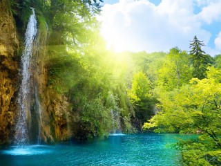 beauty background image of nature and falling water fall