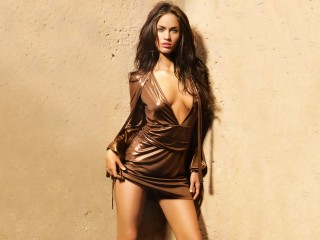 Awesome Sensual Woman Megan Fox Brown Dress Megan Fox Desktop