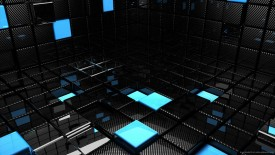 Blue Chrome 3D Room HD Wallpaper Widescreen