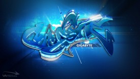 Blue Gigabyte Graffiti 3D Wallpaper