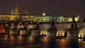 Castle Bridge At Night Lights