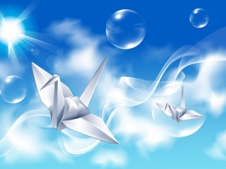 Creative Design Paper Crane Under Blue Sky
