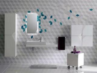 Futuristic Design Wall Tile Decor Bathroom Remodel Ideas