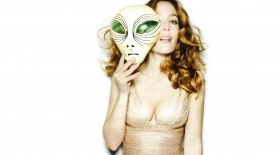 Gillian Anderson Allien Mask Beautiful Woman Actress Desktop