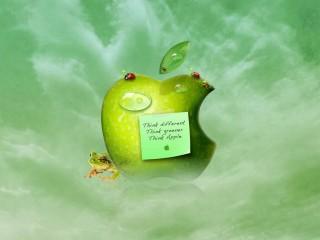 Green Apple Quote 3D Wallpaper Widescreen