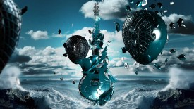 Guitar Alien Water 3D Wallpaper Widescreen