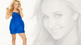 Hayden Panettiere Blonde Face Blue Dress Desktop