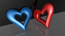 Love Blue Red Hearts Desktop