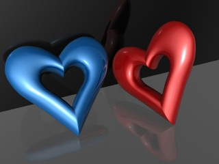 Love Blue Red Hearts Desktop