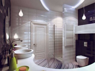 Modern Purple White Bathroom Remodel Decor Idea