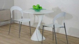 Twist White Lacquer Round Dining Table  Widescreen Wallpapers