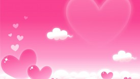 Valetine Cartoon Pink Hearts Clouds Love Desktop