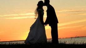 Wedding Kiss At Sunset