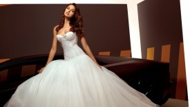 White Strapless Wedding Dresses 2014 Background HD Wallpaper